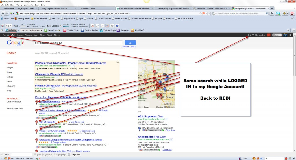 Image of Google Places listings showing red pins in Google SERPs while logged into Google account