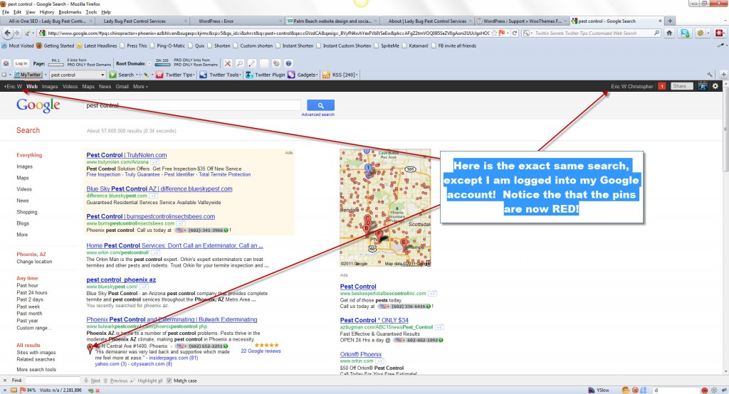 Image of Google Places listings while logged into Google Account, shows red pin.